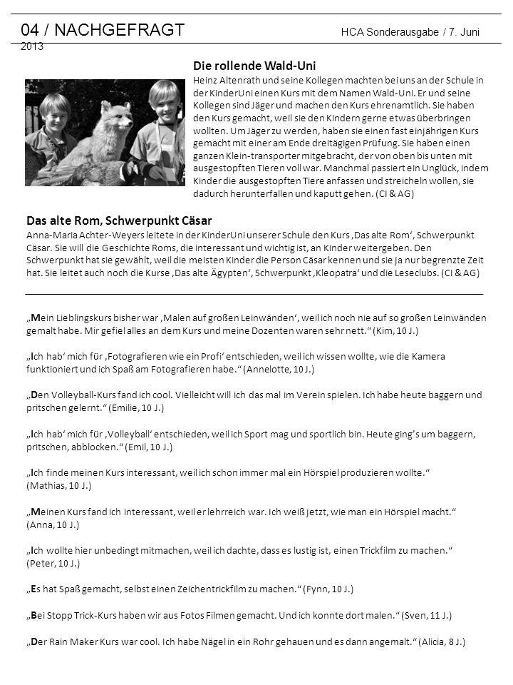 04 / NACHGEFRAGT HCA Sonderausgabe / 7. Juni 2013