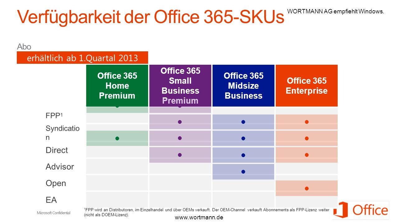 Verfügbarkeit der Office 365-SKUs