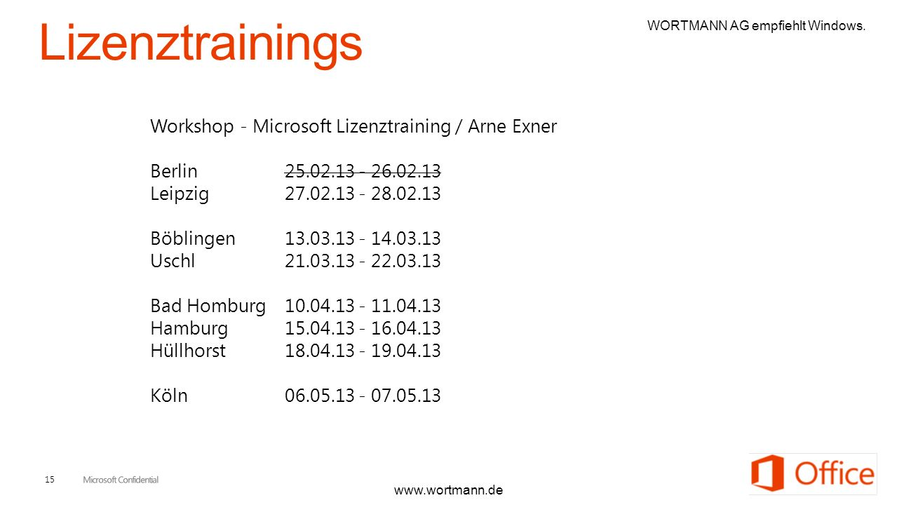 Lizenztrainings Workshop - Microsoft Lizenztraining / Arne Exner