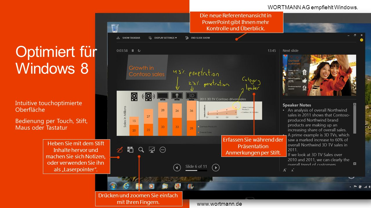 Optimiert für Windows 8 Intuitive touchoptimierte Oberfläche