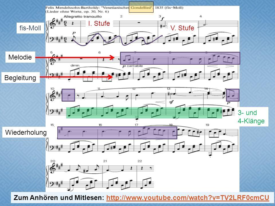 I. Stufe fis-Moll. V. Stufe. Melodie. Begleitung. 3- und. 4-Klänge. Wiederholung.