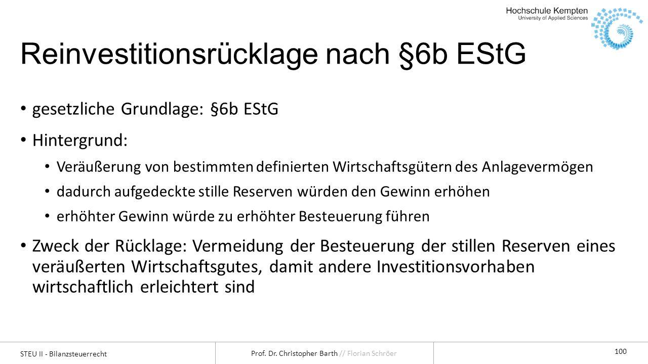 Reinvestitionsrücklage nach §6b EStG