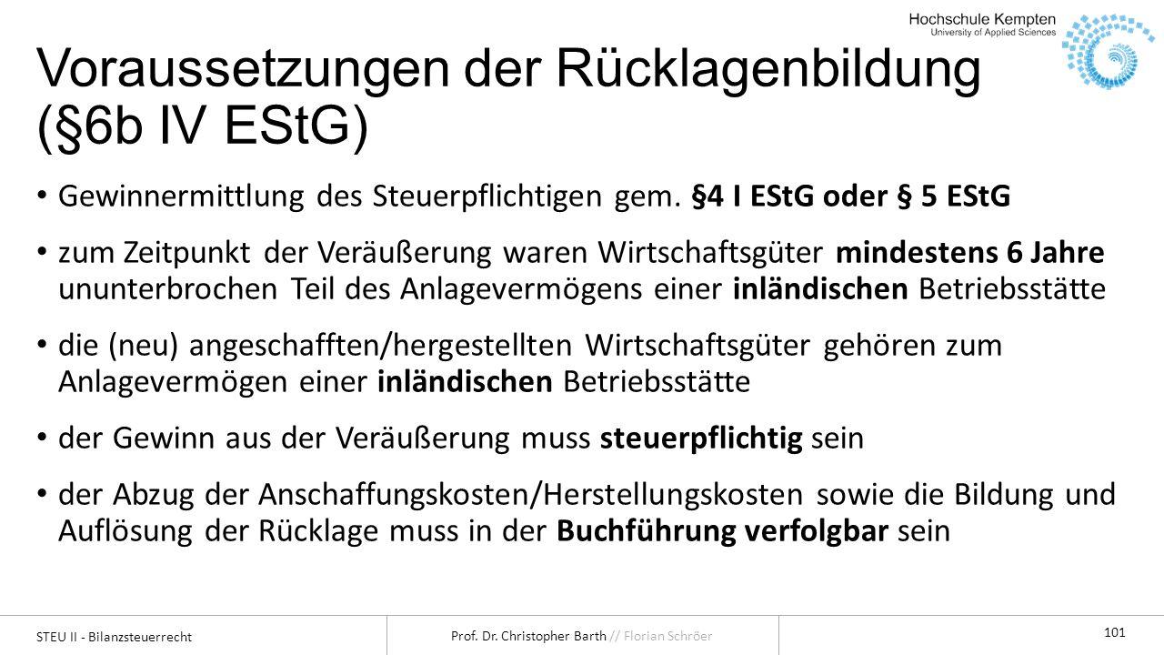 Voraussetzungen der Rücklagenbildung (§6b IV EStG)