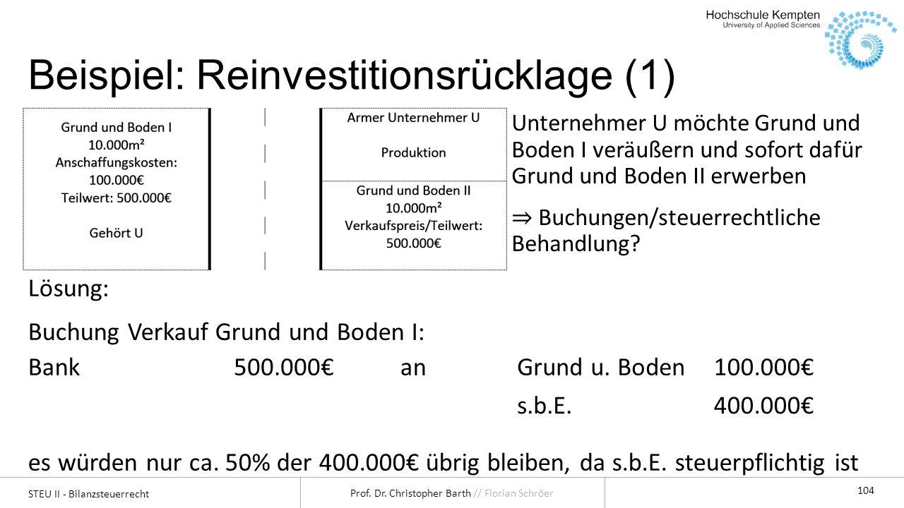 Beispiel: Reinvestitionsrücklage (1)
