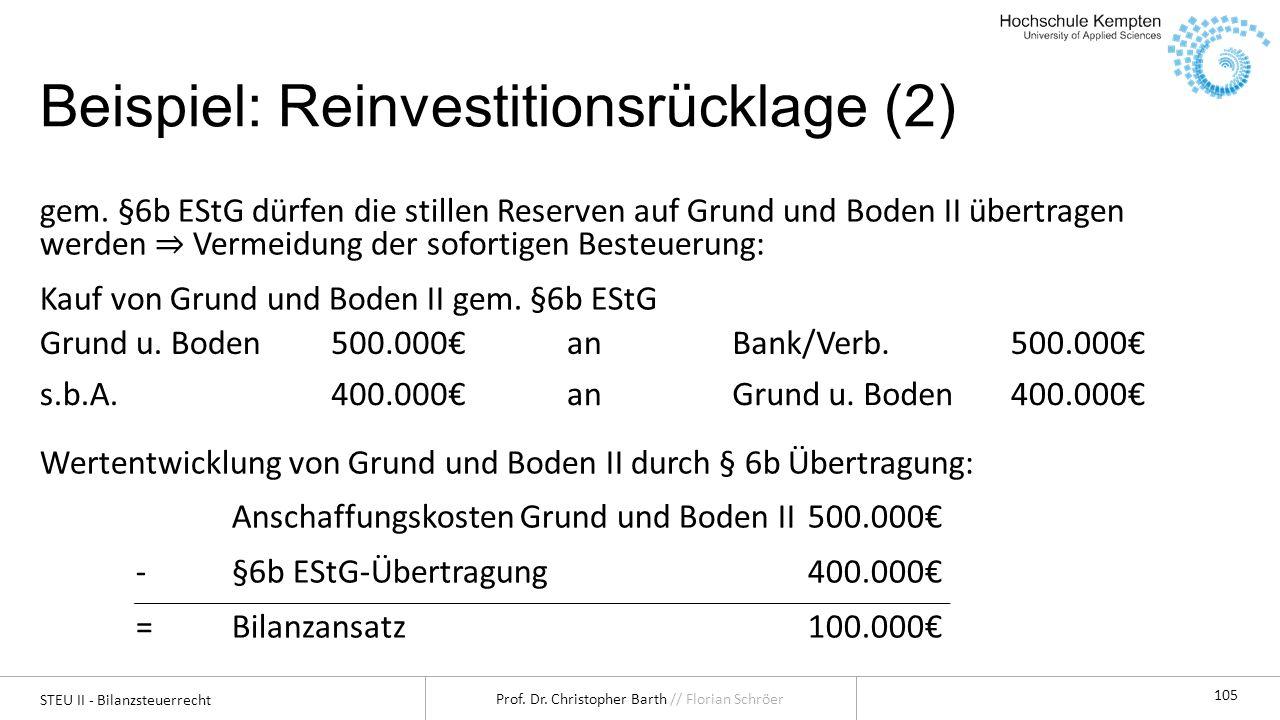Beispiel: Reinvestitionsrücklage (2)