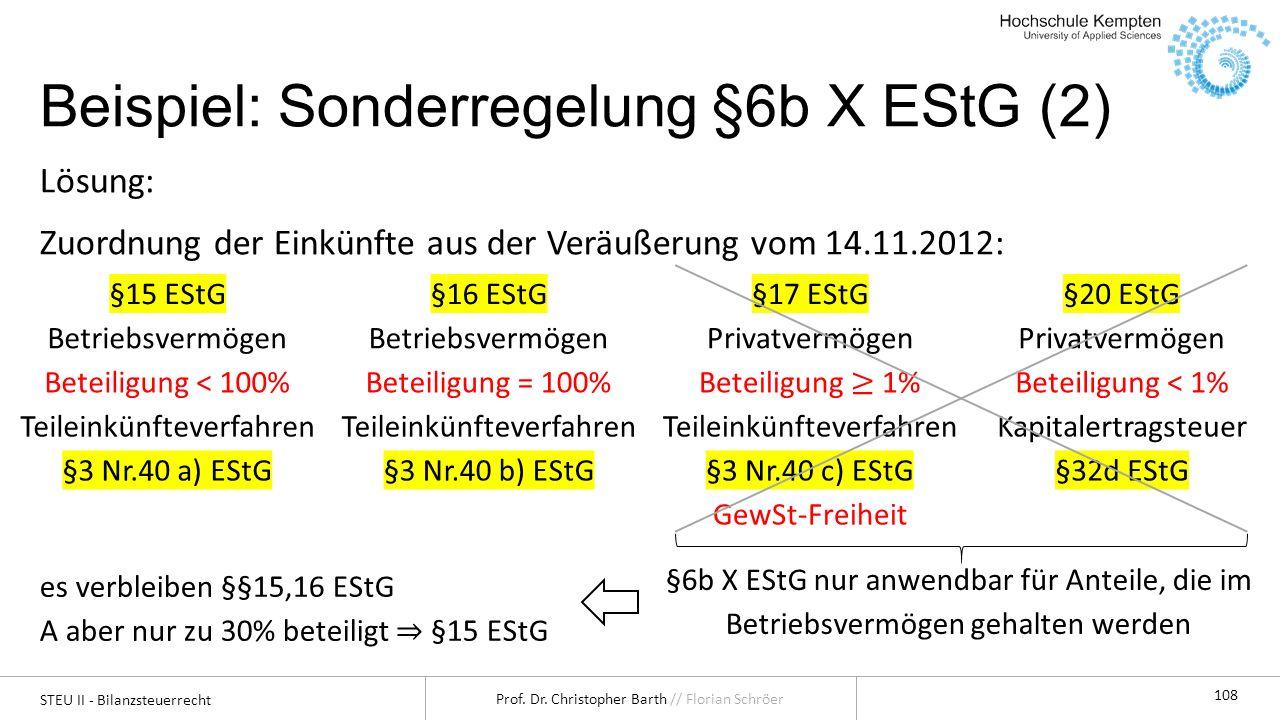Beispiel: Sonderregelung §6b X EStG (2)