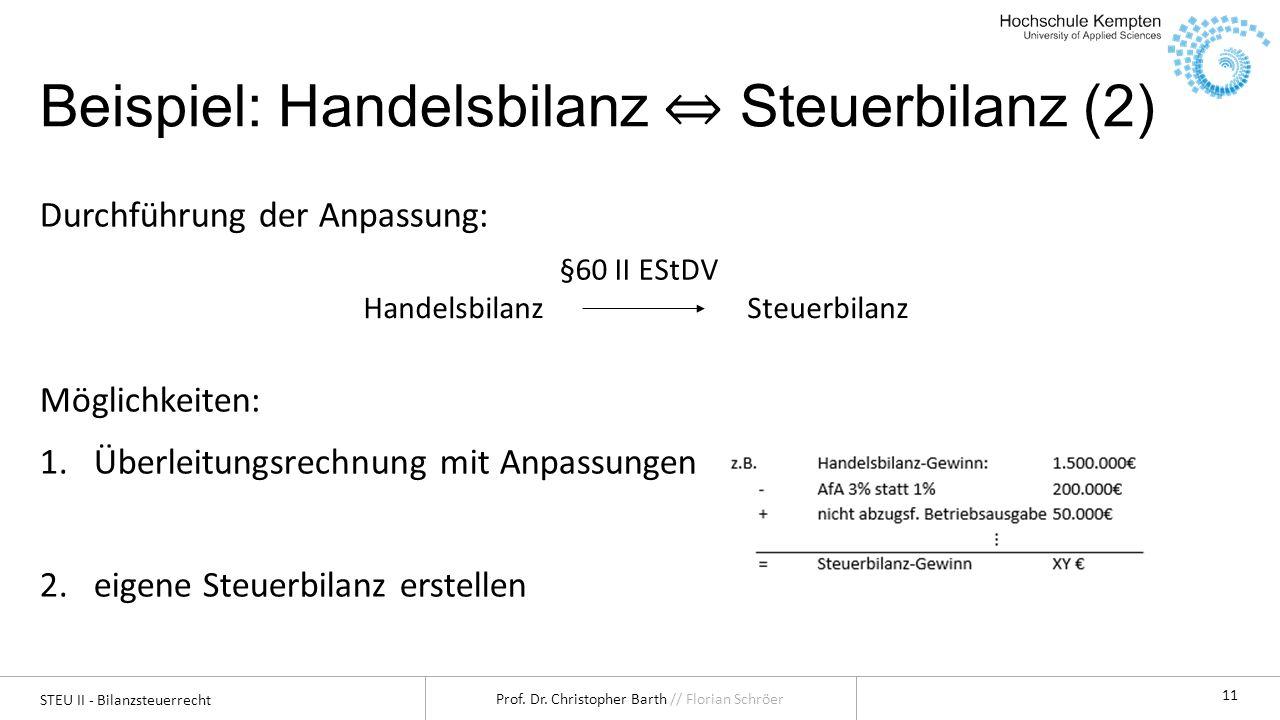 Beispiel: Handelsbilanz ⇔ Steuerbilanz (2)