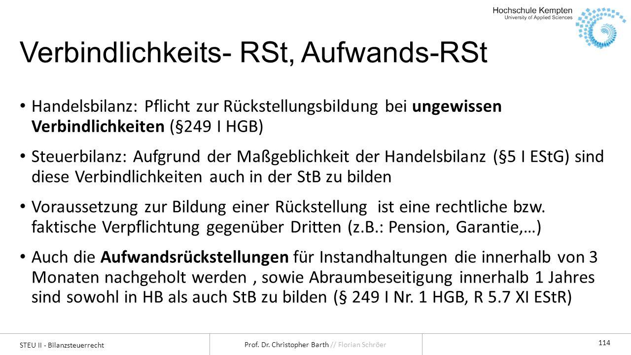 Verbindlichkeits- RSt, Aufwands-RSt