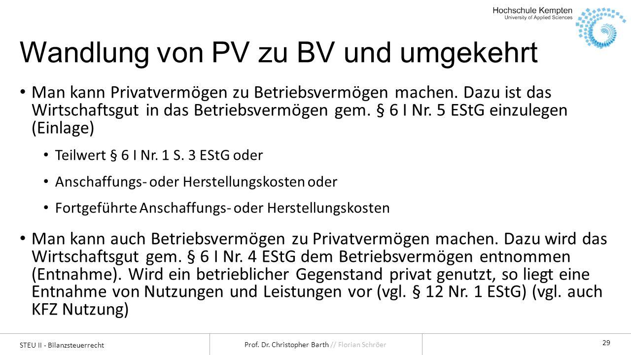 Wandlung von PV zu BV und umgekehrt