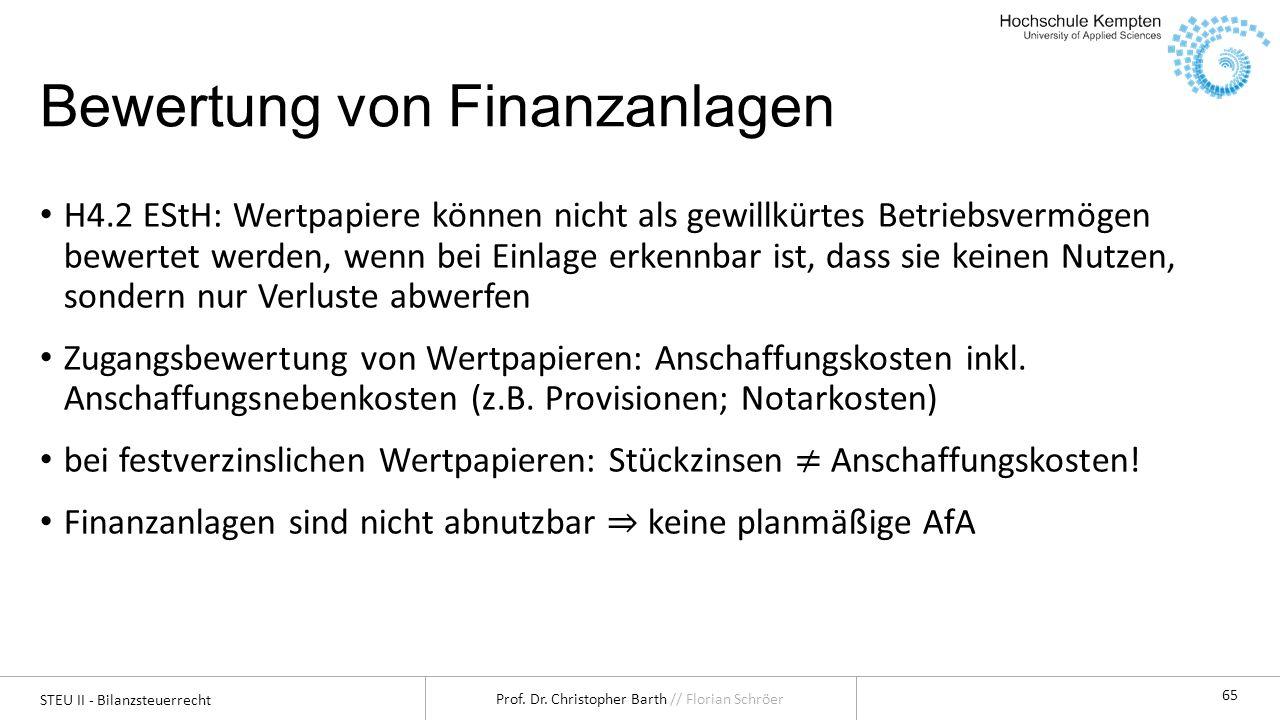 Bewertung von Finanzanlagen