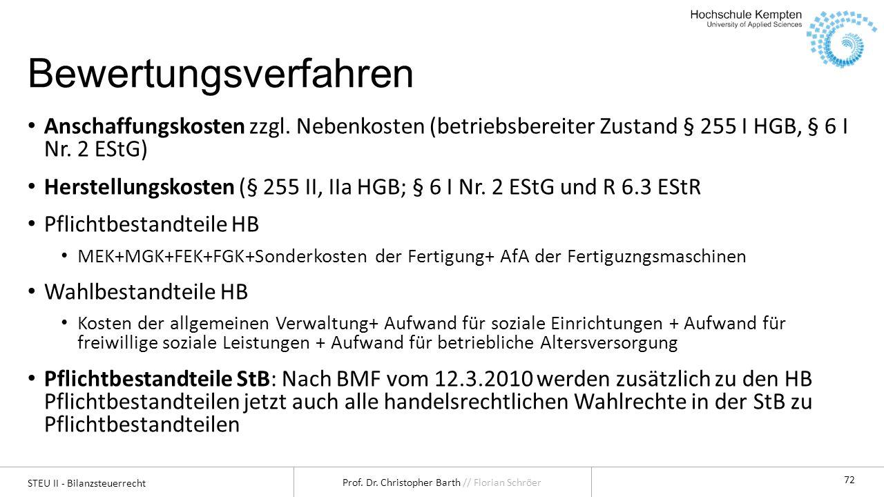 Bewertungsverfahren Anschaffungskosten zzgl. Nebenkosten (betriebsbereiter Zustand § 255 I HGB, § 6 I Nr. 2 EStG)