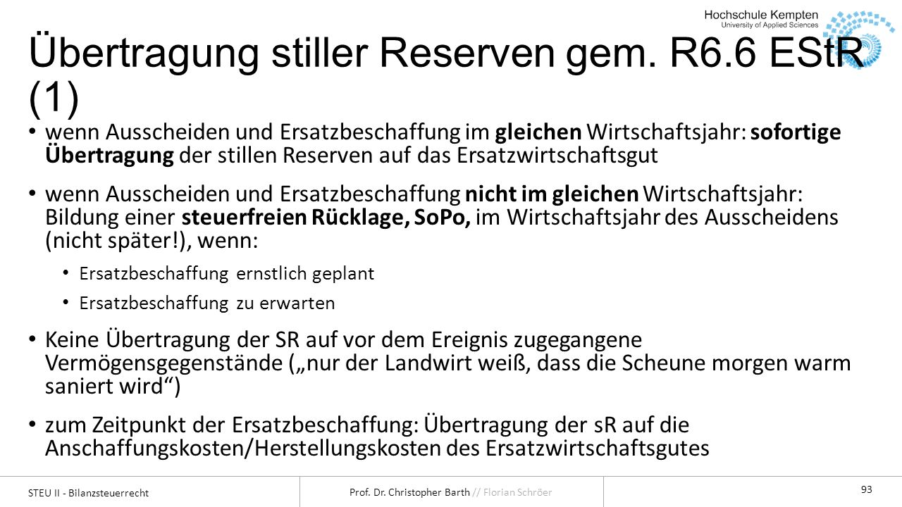 Übertragung stiller Reserven gem. R6.6 EStR (1)