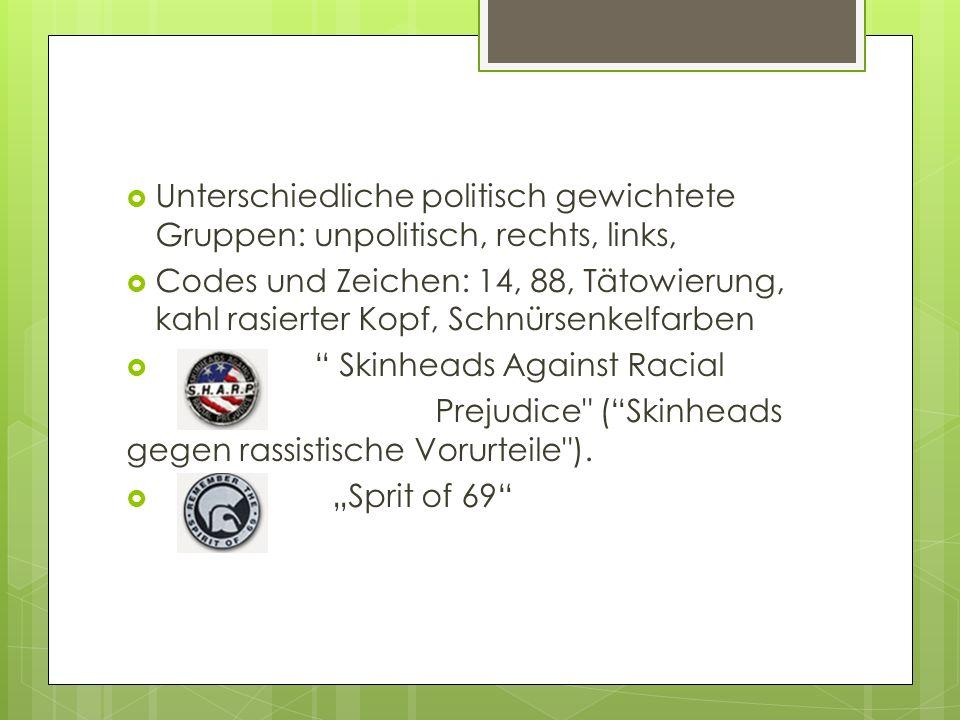 Unterschiedliche politisch gewichtete Gruppen: unpolitisch, rechts, links,