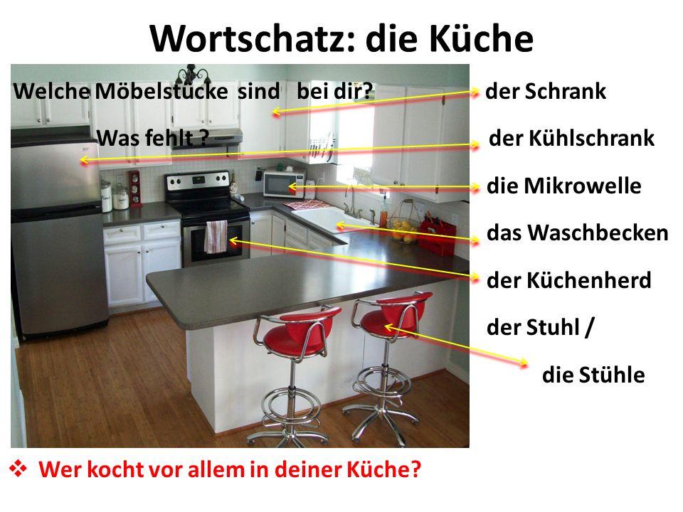 Wortschatz: die Küche Welche Möbelstücke sind bei dir der Schrank