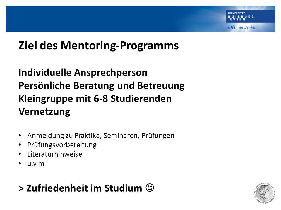 Ziel des Mentoring-Programms