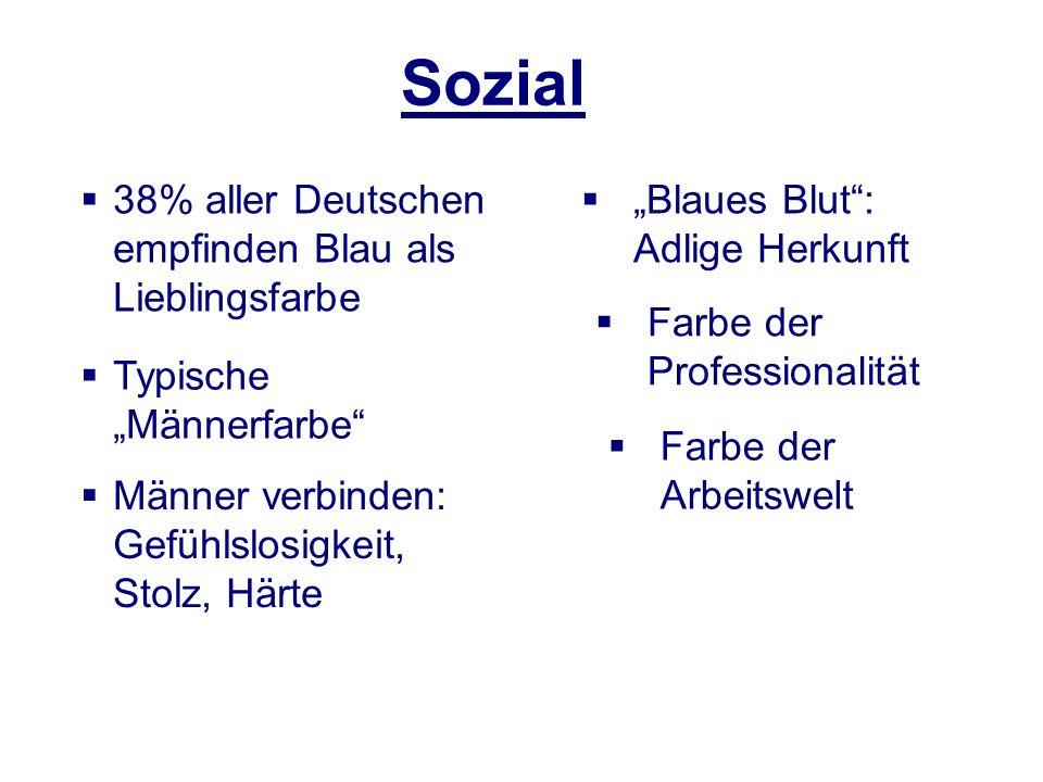 Sozial 38% aller Deutschen empfinden Blau als Lieblingsfarbe