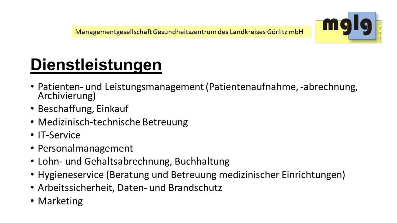 Dienstleistungen Patienten- und Leistungsmanagement (Patientenaufnahme, -abrechnung, Archivierung)