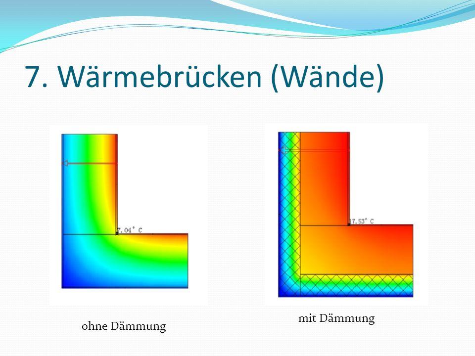 7. Wärmebrücken (Wände) mit Dämmung ohne Dämmung