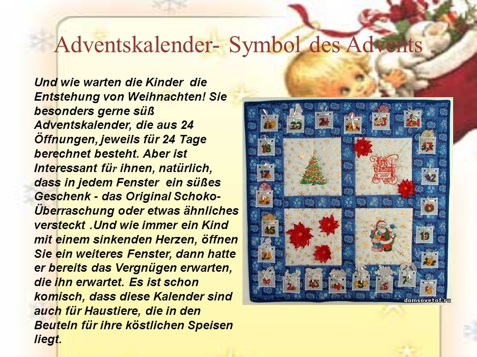 Adventskalender- Symbol des Advents