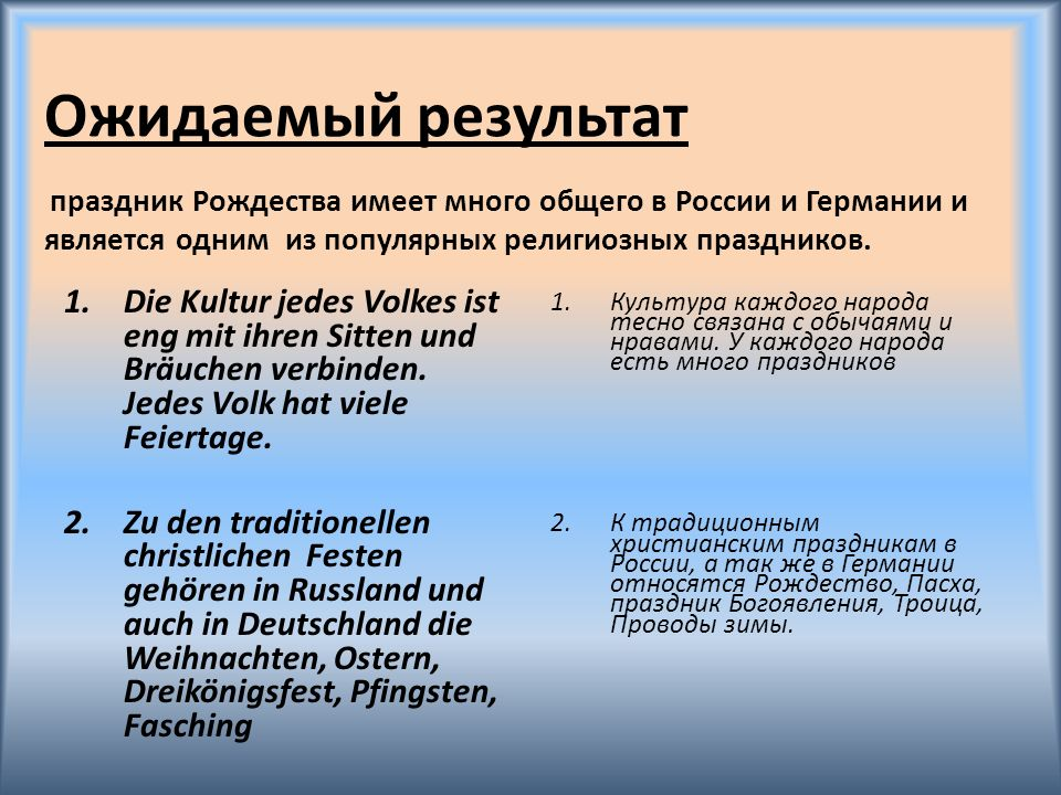 Ожидаемый результат праздник Рождества имеет много общего в России и Германии и является одним из популярных религиозных праздников.