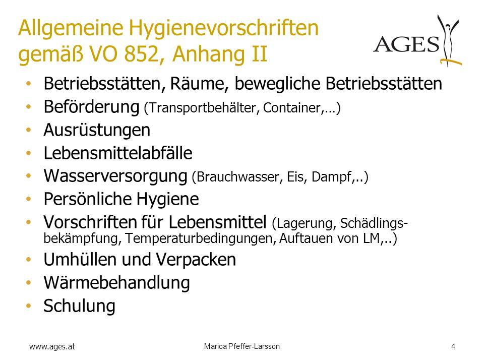 Allgemeine Hygienevorschriften gemäß VO 852, Anhang II