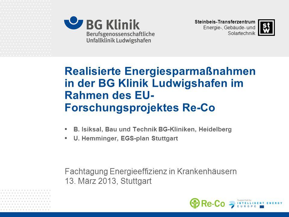 Realisierte Energiesparmaßnahmen in der BG Klinik Ludwigshafen im Rahmen des EU-Forschungsprojektes Re-Co