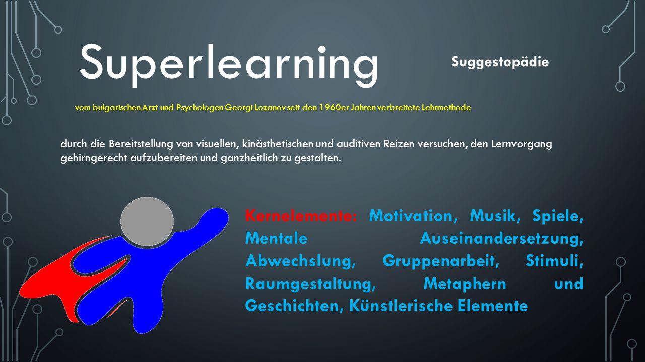 Superlearning Suggestopädie. vom bulgarischen Arzt und Psychologen Georgi Lozanov seit den 1960er Jahren verbreitete Lehrmethode.