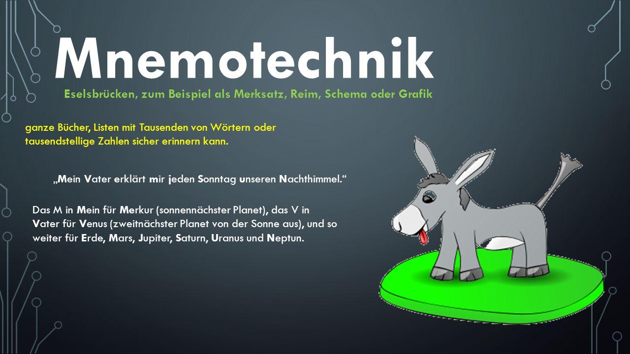 Mnemotechnik Eselsbrücken, zum Beispiel als Merksatz, Reim, Schema oder Grafik.