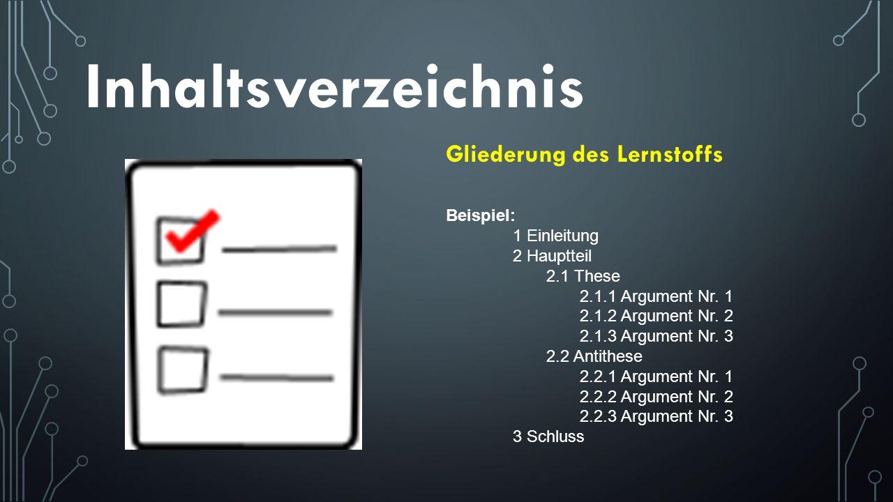 Inhaltsverzeichnis Gliederung des Lernstoffs Beispiel: 1 Einleitung