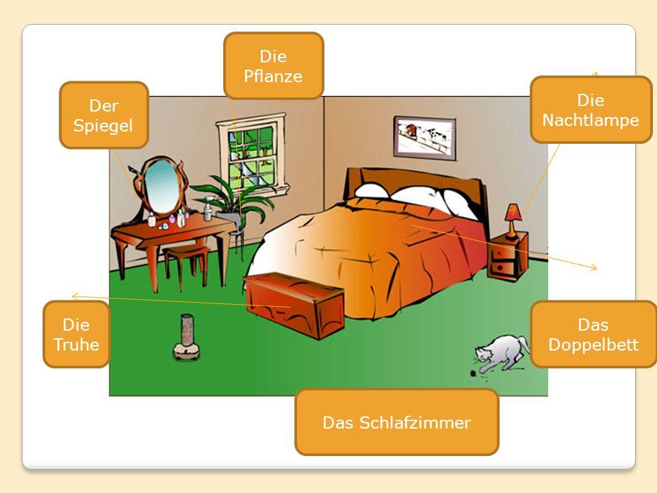Die Pflanze Die Nachtlampe Der Spiegel Die Truhe Das Doppelbett Das Schlafzimmer