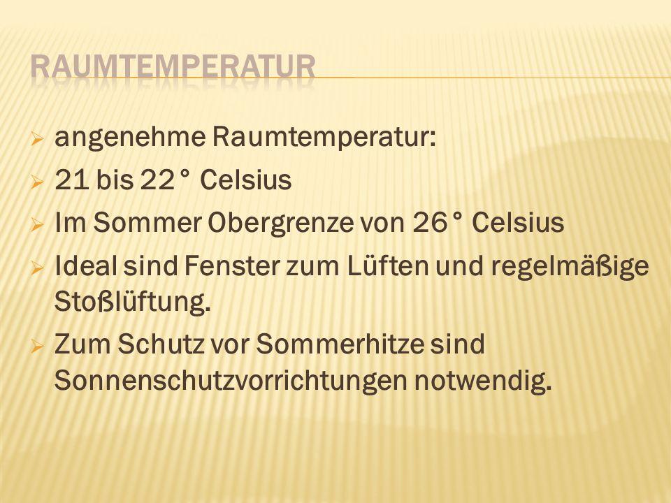 Raumtemperatur angenehme Raumtemperatur: 21 bis 22° Celsius