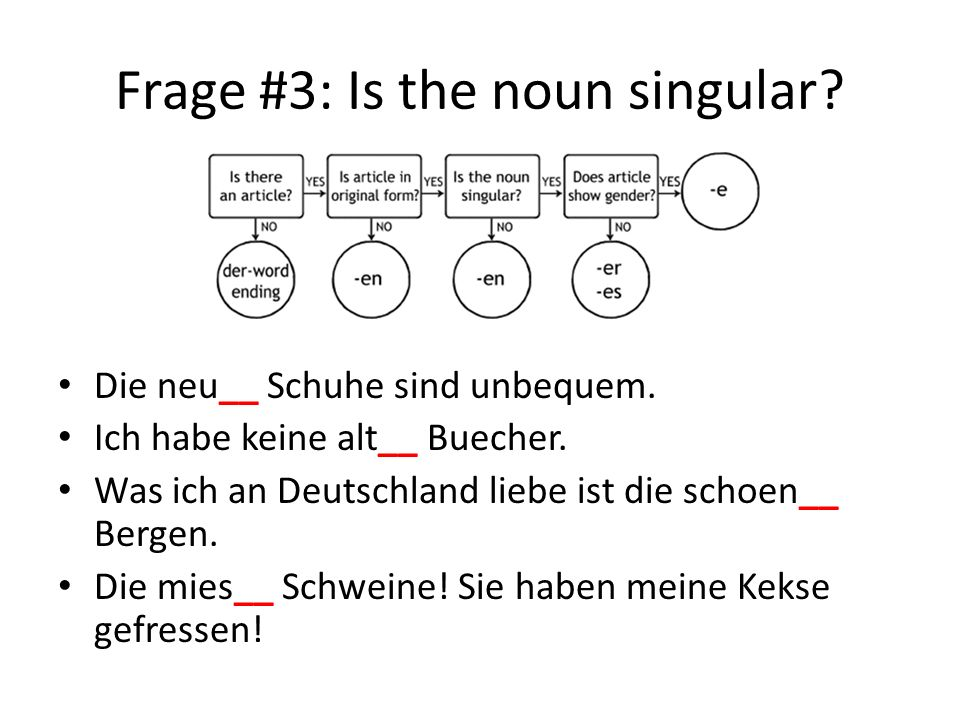 Frage #3: Is the noun singular