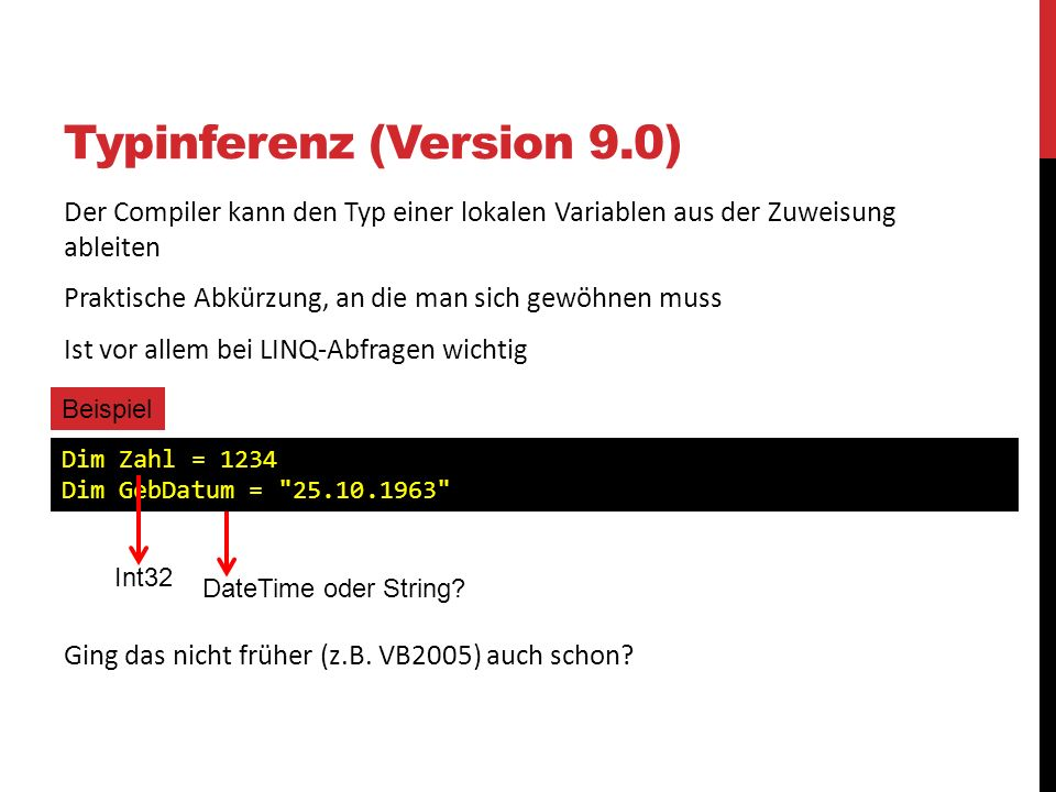 Typinferenz (Version 9.0)