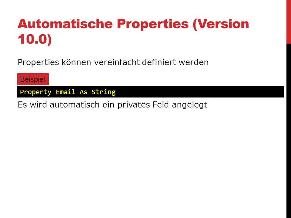 Automatische Properties (Version 10.0)
