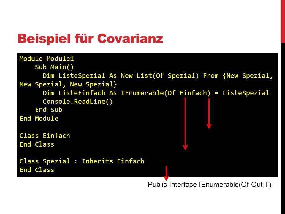 Beispiel für Covarianz