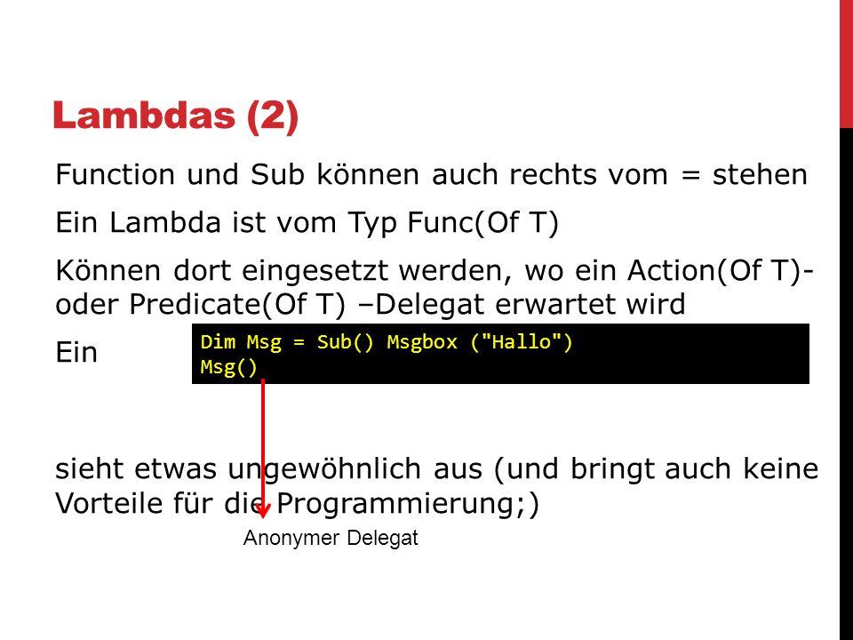 Lambdas (2)