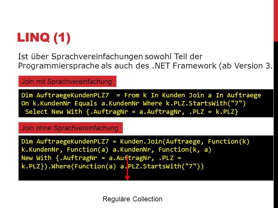 LINQ (1) Ist über Sprachvereinfachungen sowohl Teil der Programmiersprache als auch des .NET Framework (ab Version 3.5)
