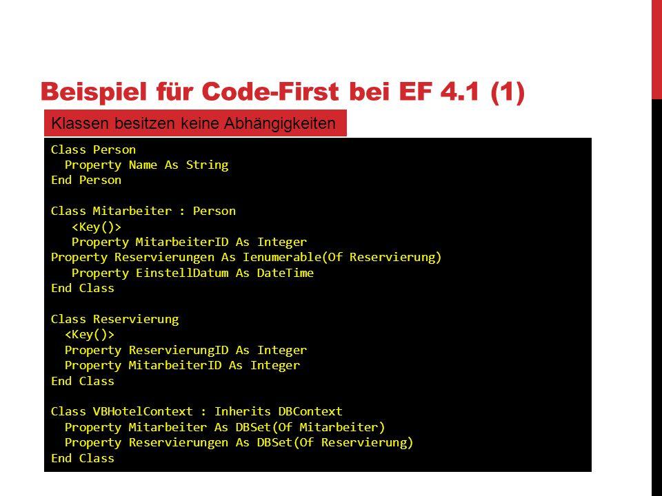 Beispiel für Code-First bei EF 4.1 (1)
