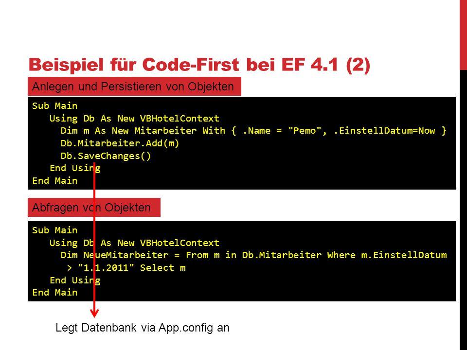 Beispiel für Code-First bei EF 4.1 (2)