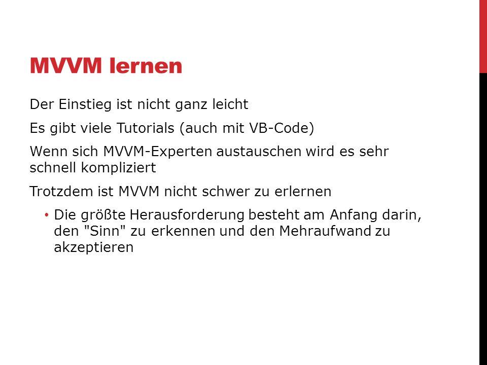 MVVM lernen Der Einstieg ist nicht ganz leicht