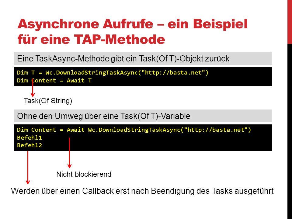 Asynchrone Aufrufe – ein Beispiel für eine TAP-Methode
