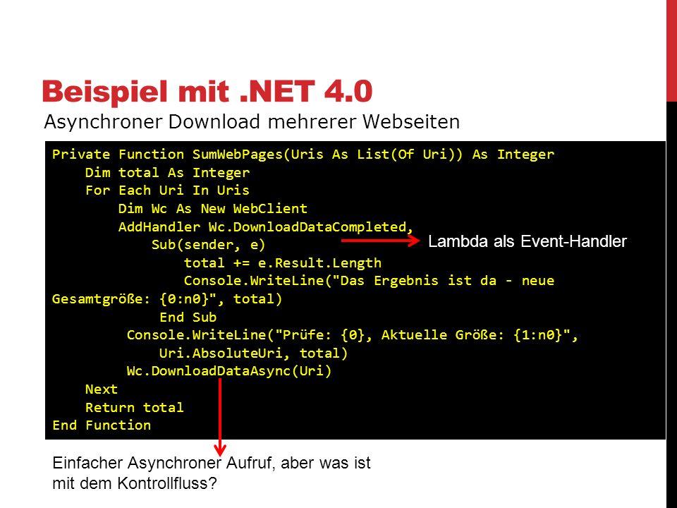 Beispiel mit .NET 4.0 Asynchroner Download mehrerer Webseiten