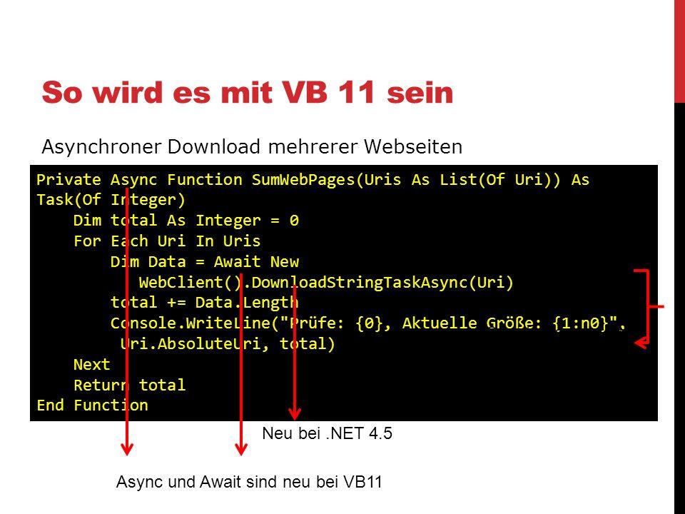 So wird es mit VB 11 sein Asynchroner Download mehrerer Webseiten
