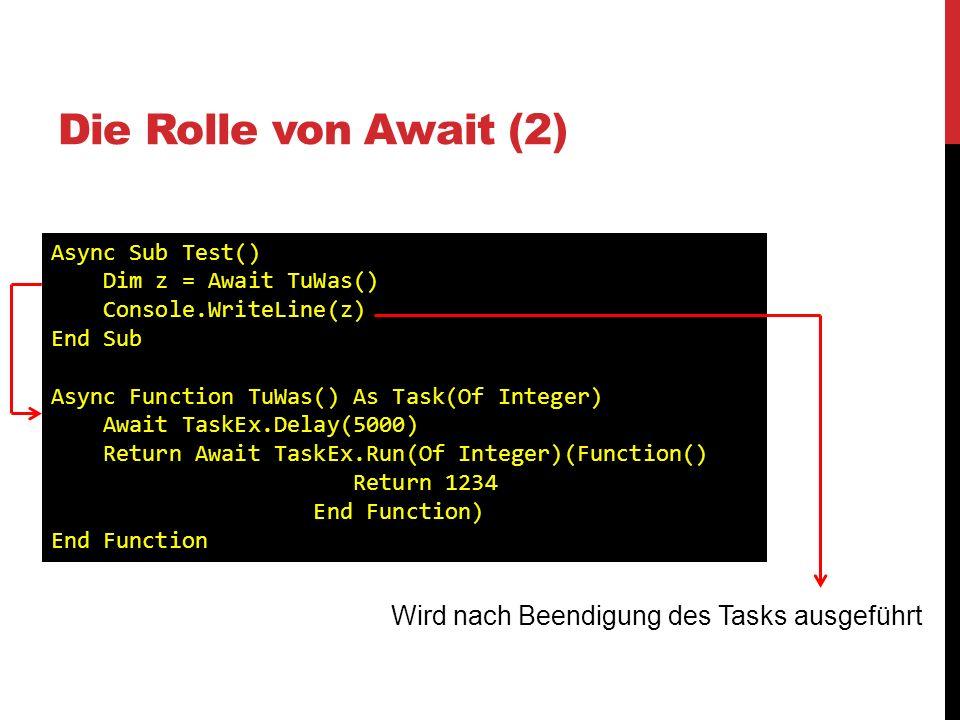 Die Rolle von Await (2) Wird nach Beendigung des Tasks ausgeführt