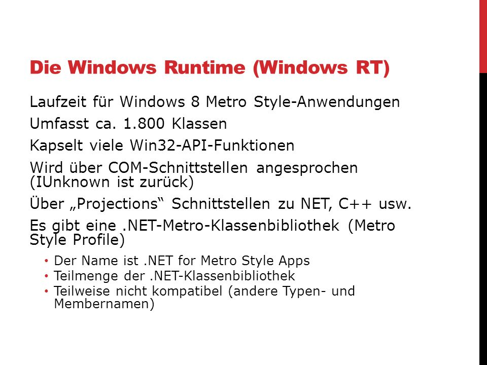 Die Windows Runtime (Windows RT)