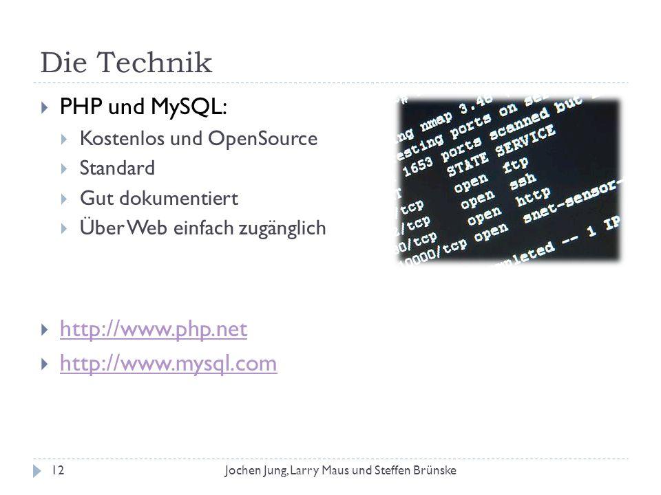 Die Technik PHP und MySQL: http://www.php.net http://www.mysql.com