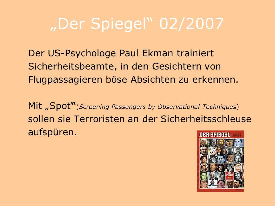 """""""Der Spiegel 02/2007 Der US-Psychologe Paul Ekman trainiert"""