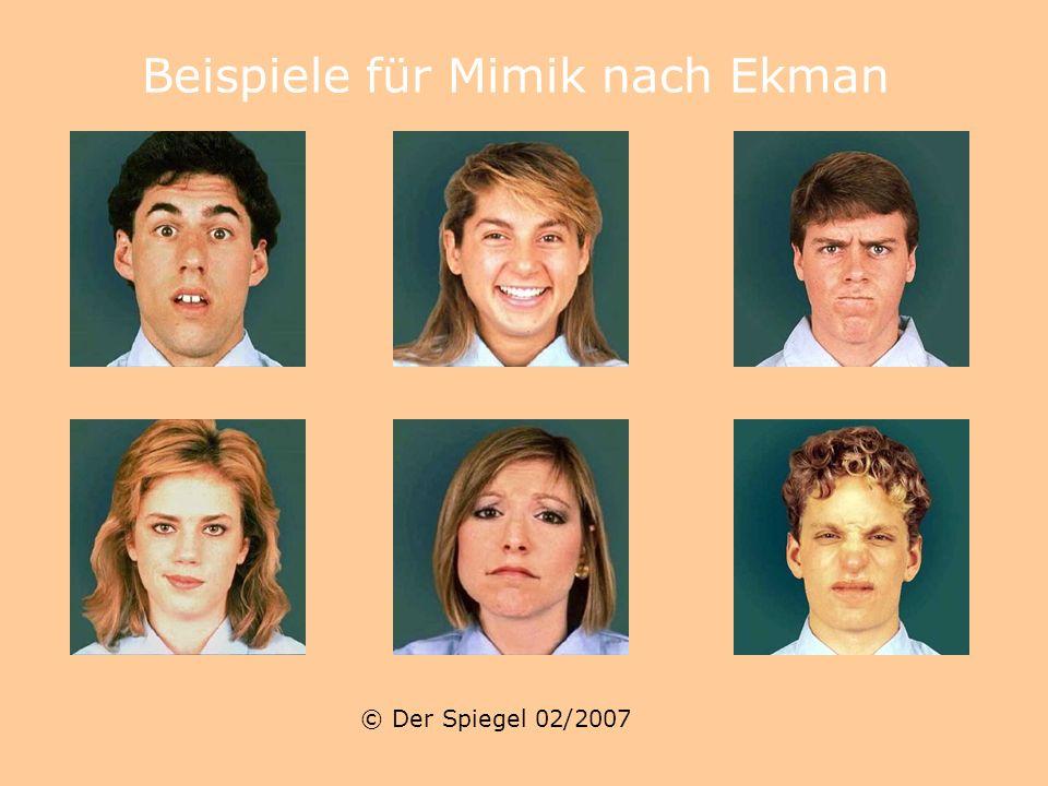Beispiele für Mimik nach Ekman