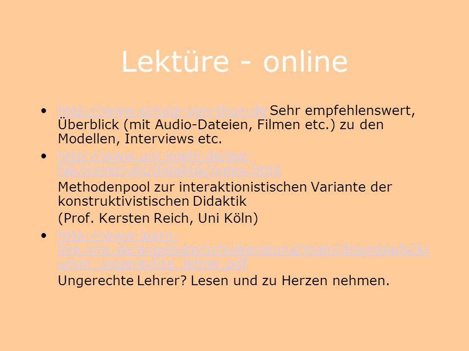 Lektüre - online http://www.schulz-von-thun.de Sehr empfehlenswert, Überblick (mit Audio-Dateien, Filmen etc.) zu den Modellen, Interviews etc.