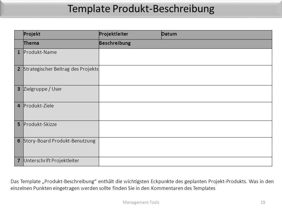 Template Produkt-Beschreibung